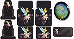 Tinkerbell Fearless Flirt 8PC Combo Front Rear Car Floor Mats Seat Covers Steering Wheel Cover CD Organizer Plus Bonus Matching Decal