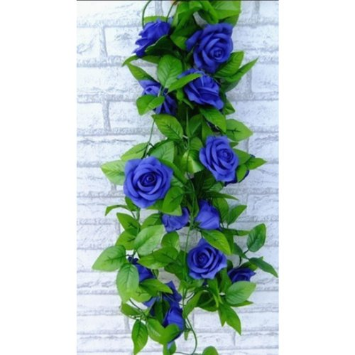1 X Artificial Rose Silk Flower Green Leaf Vine Garland Home Wall Party Decor Wedding Decal (Royal blues) by Other