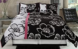 Twiggy Modern Pink White Black Big Floral Comforter Set Twin