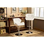 Roundhill Furniture PC190WH Glasgow Contemporary Tufted Adjustable Height Hydraulic Bar Stools, Set of 2, White