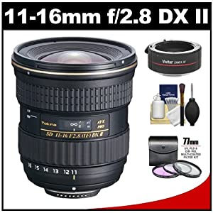 Tokina 11-16mm f/2.8 AT-X116 Pro DX II Digital Zoom Lens (BIM AF-S Motor) with 2x Teleconverter (=11-32mm) + 3 UV/FLD/CPL Filters + Accessory Kit for Nikon D3100, D3200, D5100, D7000, D800 Digital SLR Cameras