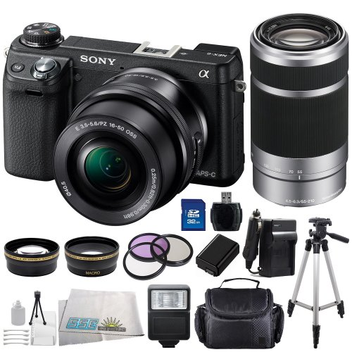 Sony Alpha Nex-6 Mirrorless Digital Camera (Black) Kit With 16-50Mm Zoom Lens & Sony 55-210Mm F/4.5-6.3 Lenses Sse Bundle Includes: .43X Wide Angle Lens, 2.2X Telephoto Lens, 3 Piece Multi-Coated Filter Kit(Uv-Cpl-Fld), Extended Life Replacement Battery,