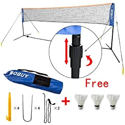SoBuy Height Adjustable Mini 300cm(118 inch)Length Tennis Net, Badminton Net with stand/frame, Fastening Devices Includes, SFN01