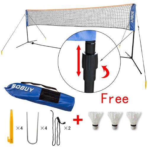 SoBuy Höhenverstellbar! Federballnetz, Badmintonnetz, Minibadmintonnetz,Tennisnetz mit Gestell/ Gestänge,mit 3 Federball als Gratis SFN