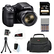 Sony DSC-H200/B High zoom digital camera Black + 16GB SDHC Class 10 SD Memory Card + Small System Case + Flexible Tripod, Memory Card Wallet, 3pc Cleaning Kit & 3 Screen Protectors + NIMH AA 3100mah 4 Pack & AC/DC Charger + 25 Free Quality Photo Prints
