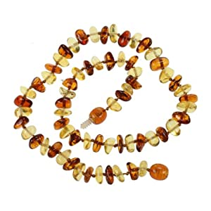 Genuine Baltic Amber Teething Necklace for Baby - Multi Color Beads by Amberbeata