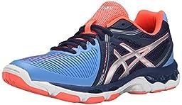 ASICS Women\'s Gel Netburner Ballistic Volleyball Shoe, Columbia Blue/Silver/Navy, 9.5 M US