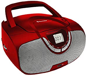 Roadstar Portable Stereo System with CD/MP3 Player, USB and AM/FM Radio - Red