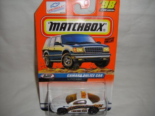 MATCHBOX #98 OF 100 AT YOUR SERVICE SERIES WHITE CAMARO POLICE CAR DIE-CAST
