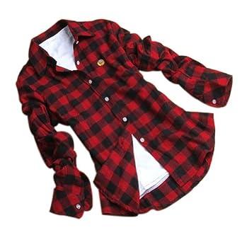 Juanshi Women 39 S Check Flannel Shirt Color Red Black At