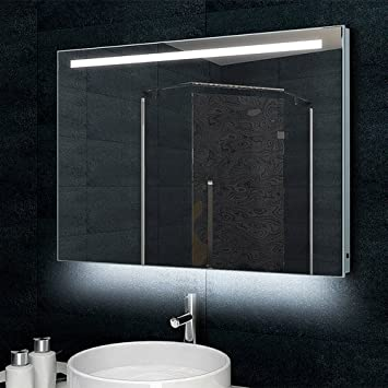 Lux-Aqua JV46292 °C Designer Bathroom Wall Mirror with 770 Lumen LED Light Aluminium Frame 100 x 60 cm MLD60100