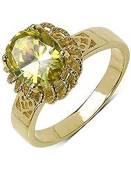 Suraabi 3.00CTW Peridot Cubic Zirconia 14K Yellow Gold Plated Brass Ring For Women