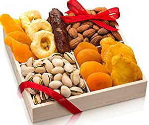 Freshly Roasted Gourmet Nuts dried fruit Gift Basket, Nut Gift Tray 4 section Medium Gift Tray