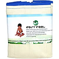 Easy Feel 100% Unbleached Cotton Prefold Cloth Diapers - Infant Size (Pack of 6)