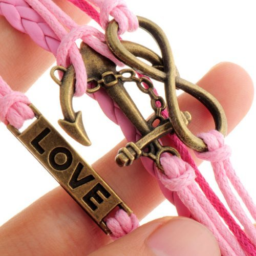 Caetle-TM-Fashion-Infinite-Bracelet-Cross-Bangle-White-Leather-Knit-Rope-Love-Punk-Charms