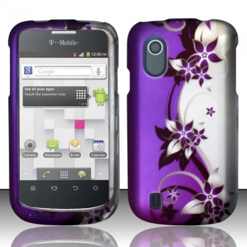 For ZTE Concord V768 (TMobile) Rubberized Design Cover Case  Purple/Silver Vines Picture