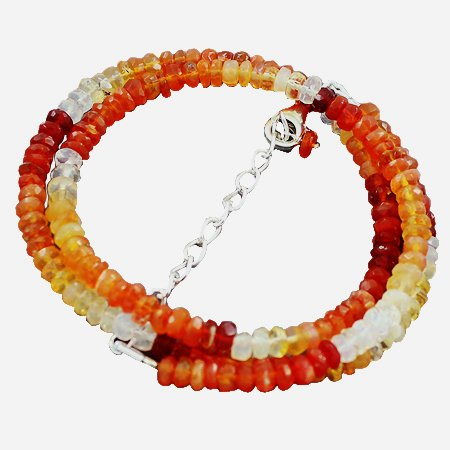 925 Sterling Silver Artisan Dark Fire Opal Gemstone Beads Strand Necklace Size 18 Inches