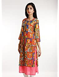 Vedic Womens Georgette Self Printed Kurta