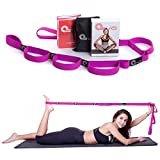 Elastic Stretching Strap with 10 Flexible Loops + eBook & 35 Online Stretch Out Video Exercises - Yoga and Pilates Workouts - Purple