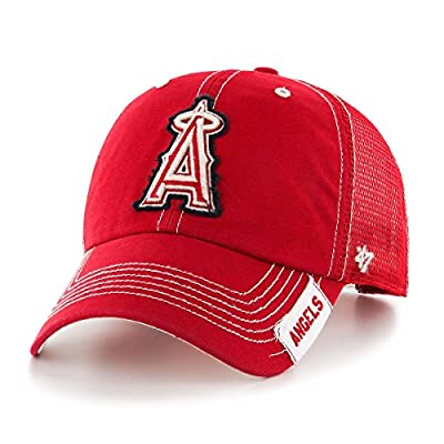 MLB Los Angeles Angels Turner Clean Up Adjustable Hat, One Size, Red