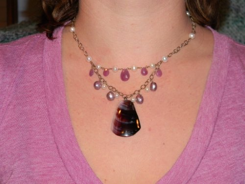 Necklace. Pink Chalcedony, Pearl, Shell. Silver Chain. 15