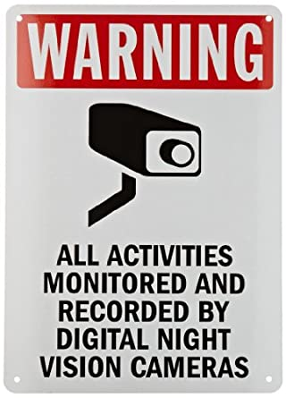 "SmartSign Security Sign, Legend ""Warning: Monitored by Night Vision Cameras"", Black/Red on White"