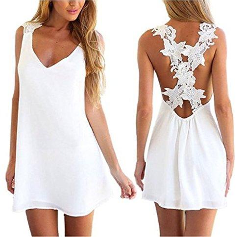 Women Sexy Backless Lace Crochet Chiffon Summer Beach Mini Dress (S)