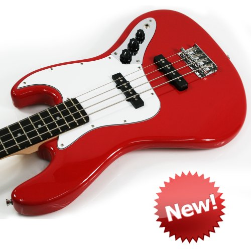 Lindo J-BASS Electric Bass Guitar with Soft Carry Case - Red