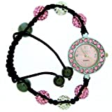 White and Pink Shamballa Bracelet Watches Swarovski Watch Crystal Beads 10m