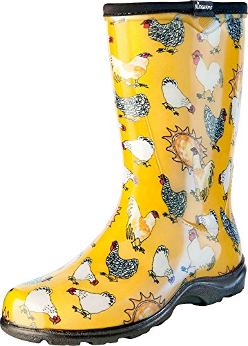 Sloggers Women's Rain and Garden Chicken Print Collection Garden Boots, Size 11, Daffodil Yellow (Rain Shoes For Women Size 11 compare prices)