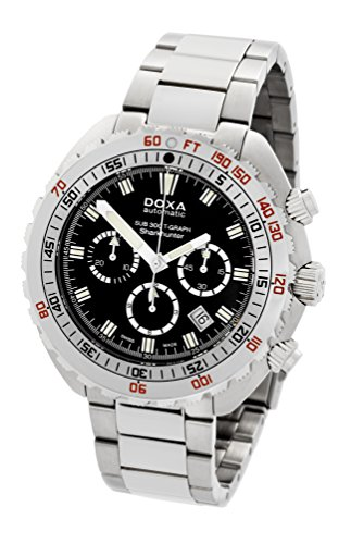 Doxa Sub 300 Graph Sharkhunter Men's Automatic Watch with Black Dial Chronograph Display