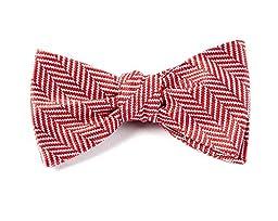 100% Woven Silk Red Native Herringbone Patterned Self-Tie Bow Tie