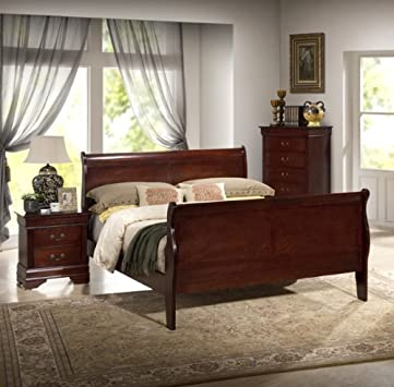 Spectacular New Louis Philippe Sleigh Full Size Bed Frame Cherry Finish