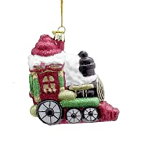 Kurt Adler 4-Inch Noble Gems Glass Multi Glitter Locomotive Ornament