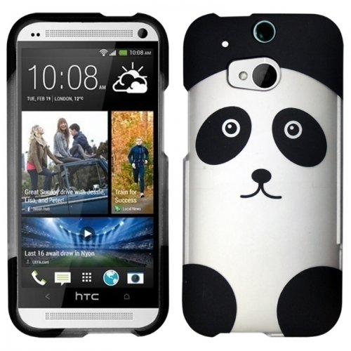 Black And Silver Panda Design Case + Atom Led Keychain Light For Htc One M8