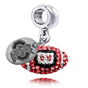 Ohio State Buckeyes Enameled Football Drop Charm. Solid Sterling Silver with Enamel