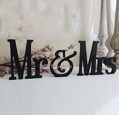 Wedding Sign Mr & Mrs Sign for Wedding Table Decoration Signage Black Mr & Mrs (7 inches)