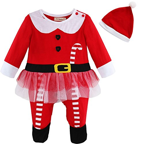 YiZYiF First Christmas Baby Girl's Party Outfit Tutu Romper Hat Outfit Set 9-12 Months
