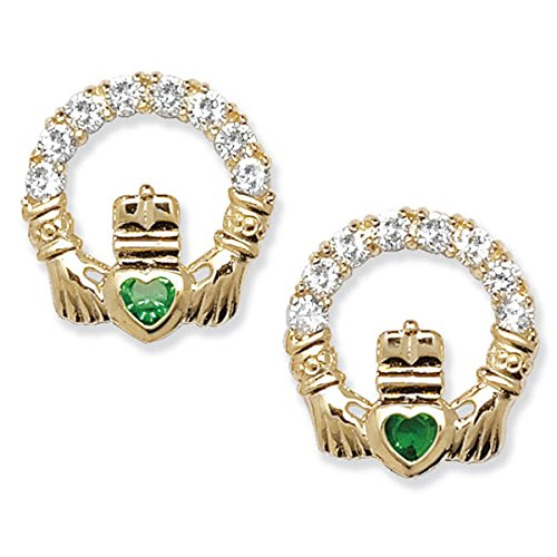 9ct Gold Cubic Zirconia Claddagh Earrings