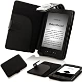 ForeFront Cases® Lederhülle / Hülle / Schutzhülle - Synthetik mit LED LICHT Schwarz - für den neuen AMAZON KINDLE 4 WLAN, 15 cm E Ink Display, Schwarz - 5TH GENERATION - Case Cover mit Leselampe