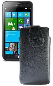 Suncase Original Echt Ledertasche für Samsung Ativ S (i8750) vollnarbiges-schwarz