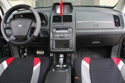 OxGord 17pc Black Gray Amp Red Flat Cloth Seat Cover Set