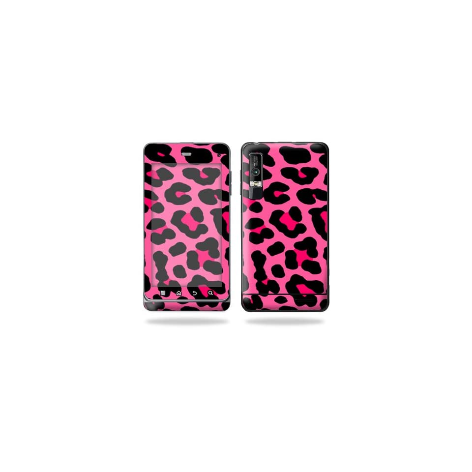 Protective Vinyl Skin Decal Cover for Motorola Droid 3 Android Smart Phone Cell Phone Sticker Skins   Pink Leopard