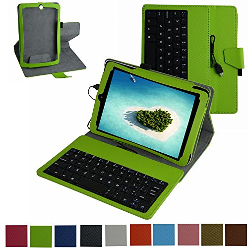 "Mama Mouth Rotary Stand Pu Leather Case Cover With Removable Micro Usb Keyboard For For 7.85"" Efun Nextbook 8 Nx785Qc8G Nx785Qc8G-B Nx785Qc8G-C Tablet Green"
