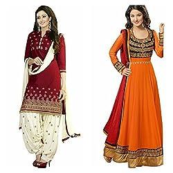 Sky Global Women's Printed Unstitched Regular Wear Salwar Suit Dress Material (Combo pack of 2)(SKY_DC_5004)(SKY_501_RED)(Dress_129_FreeSize_Orange)
