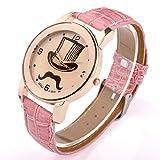 Better Dealz UK Lady Mage Cap+Moustache Pettern Beige Dail Rose Gold Case Quartz Wrist Watch-Pink Lether
