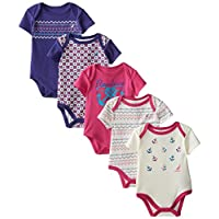 Nautica Baby-Girls Newborn 5 Pack Fairisle Bodysuits, Assorted