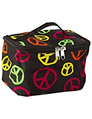 Cute! Cosmetic Makeup Bag Case Multi Color Peace Signs Small