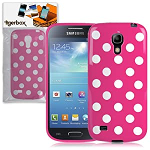 Tigerbox Pink / White Retro Polka Dot Gel Skin Case Cover For Samsung Galaxy S4 SIV Mini i9190 With Screen Protector