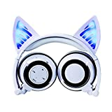Eoncore Kids Stereo Wireless Bluetooth Headphones LED Glowing Cat Ear Foldable Over-ear Headsets Noise Reduction With Mic Volume Control (White)